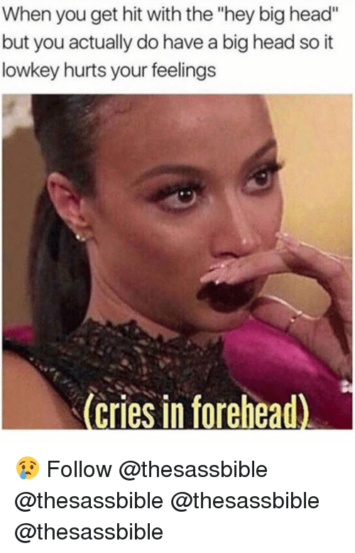 """big head: When you get hit with the """"hey big head""""  but you actually do have a big head so it  lowkey hurts your feelings  (cries in forehead 😢 Follow @thesassbible @thesassbible @thesassbible @thesassbible"""