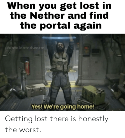 The Worst, Lost, and Home: When you get lost in  the Nether and find  the portal again  u/untalentedworm  Yes! We're going home! Getting lost there is honestly the worst.
