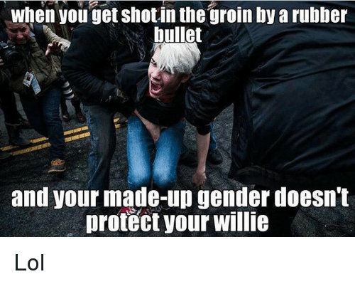 willies: when you get shotin the groin by arubber  bullet  and your made-up genderdoesn't  protect your willie Lol