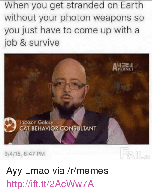 "Ayy LMAO, Jackson Galaxy, and Lmao: When you get stranded on Earth  without your photon weapons so  you just have to come up with a  job & survive  ZAL  PLANET  Jackson Galaxy  CAT BEHAVIOR CONSULTANT  9/4/15, 6:47 PM  FA <p>Ayy Lmao via /r/memes <a href=""http://ift.tt/2AcWw7A"">http://ift.tt/2AcWw7A</a></p>"