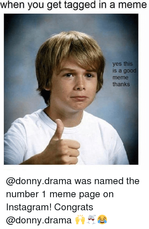 Meme Thanks: when you get tagged in a meme  yes this  is a good  meme  thanks @donny.drama was named the number 1 meme page on Instagram! Congrats @donny.drama 🙌🥂😂