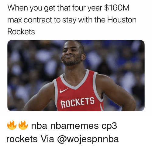 Houston Rockets: When you get that four year $160M  max contract to stay with the Houston  Rockets  ROCKETS 🔥🔥 nba nbamemes cp3 rockets Via @wojespnnba