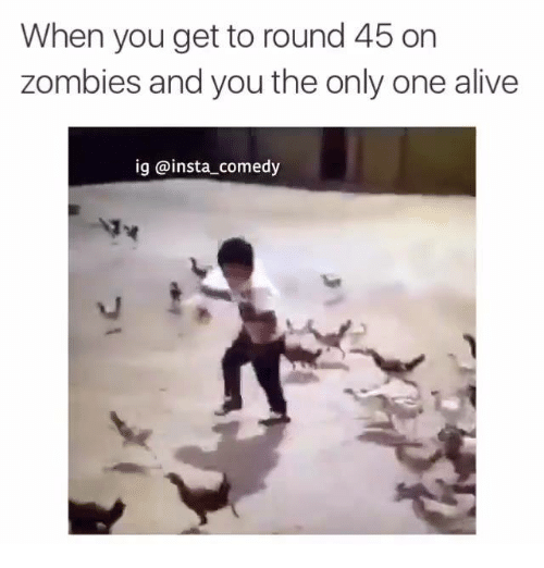 Insta Comedy: When you get to round 45 on  zombies and you the only one alive  ig a insta comedy
