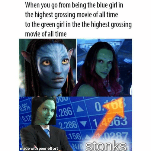 the the: When you go from being the blue girl in  the highest grossing movie of all time  to the green girl in the the highest grossing  movie of all time  .286 0168  0.12  1 4563  2.286  156  0287  WAStonks  made with poor effort