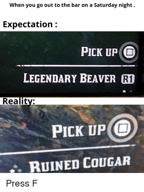 cougar: When you go out to the bar on a Saturday night.  Expectation:  PICK UP O  LEGENDARY BEAVER R1  Reality:  PICK UP O  RUINED COUGAR Press F