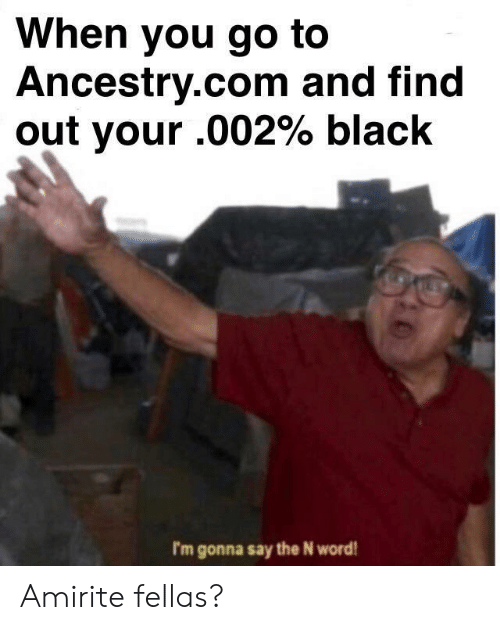 Ancestry, Black, and Word: When you go to  Ancestry.com and find  out your .002% black  I'm gonna say the N word Amirite fellas?