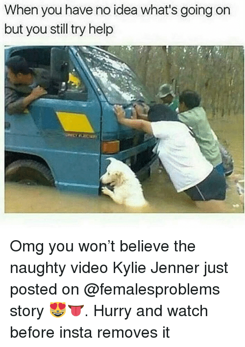 Kylie Jenner, Memes, and Omg: When you have no idea what's going on  but you still try help Omg you won't believe the naughty video Kylie Jenner just posted on @femalesproblems story 😻👅. Hurry and watch before insta removes it
