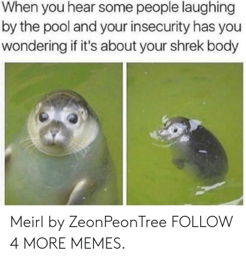 People Laughing: When you hear some people laughing  by the pool and your insecurity has you  wondering if it's about your shrek body Meirl by ZeonPeonTree FOLLOW 4 MORE MEMES.