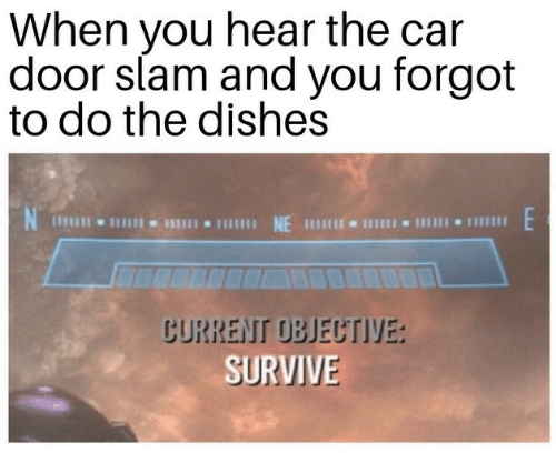 door slam: When you hear the car  door slam and you forgot  to do the dishes  SURVIVE