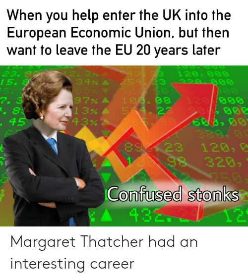 15 2: When you help enter the UK into the  European Economic Union, but then  want to leave the EU 20 years later  43.23  254. 23 220.000  32  100. 08  54. 22  23.  15.  2.  34%  89%  97%  13x  120, 00D  56  5.  7. 3  8:  120/000  -45  380.00  120, 2  320,  8923  250  Confused stonks  12  666  432.2/ Margaret Thatcher had an interesting career