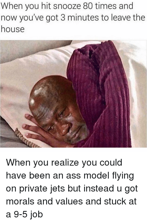 values: When you hit snooze 80 times and  now you've got 3 minutes to leave the  house When you realize you could have been an ass model flying on private jets but instead u got morals and values and stuck at a 9-5 job