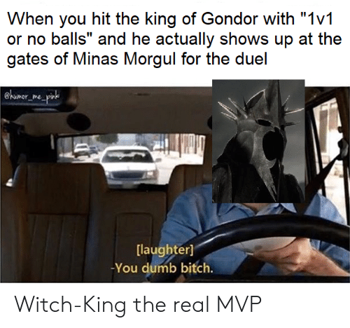 "Bitch, Dumb, and Lord of the Rings: When you hit the king of Gondor with ""1v1  or no balls"" and he actually shows up at the  gates of Minas Morgul for the duel  @himor  [laughter]  You dumb bitch. Witch-King the real MVP"