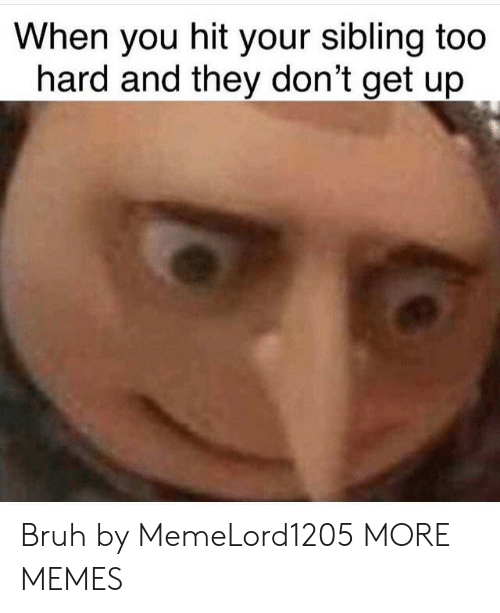 sibling: When you hit your sibling too  hard and they don't get up Bruh by MemeLord1205 MORE MEMES