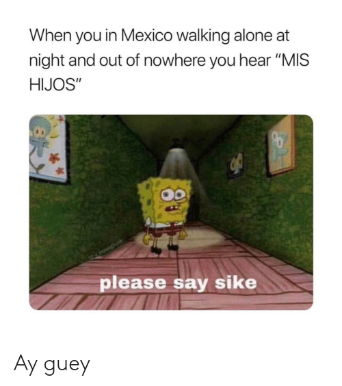 "Being Alone, Mexico, and Mis: When you in Mexico walking alone at  night and out of nowhere you hear ""MIS  HIJOS""  Igte espanglishh  please say sike Ay guey"