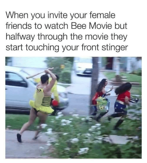 Bee Movie, Friends, and Movie: When you invite your female  friends to watch Bee Movie but  halfway through the movie they  start touching your front stinger