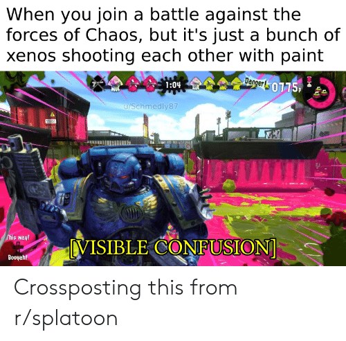 Paint, You, and Confusion: When you join a battle against the  forces of Chaos, but it's just a bunch of  xenos shooting each other with paint  Dagger0115,  1:04  u/Schmedly87  This way!  VISIBLE CONFUSION  Booyah! Crossposting this from r/splatoon