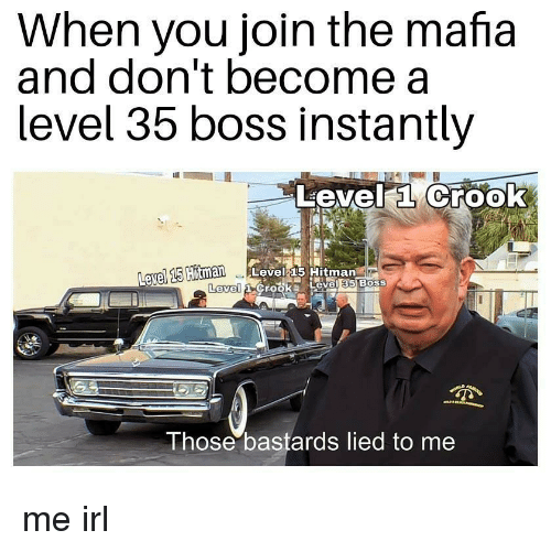 hitman: When you join the mafia  and don't become a  level 35 boss Instantly  Level a Crook  avel 15  Hitman Level 15 Hitman  Level  Those bastards lied to me me irl