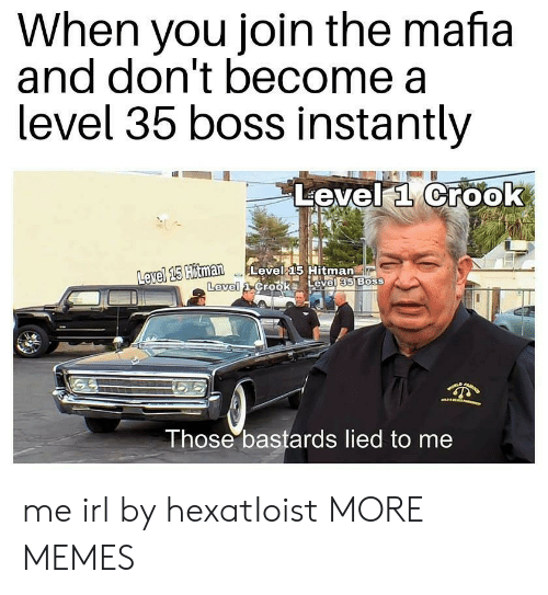 hitman: When you join the mafia  and don't become a  level 35 boss Instantly  Level a Crook  avel 15  Hitman Level 15 Hitman  Level  Those bastards lied to me me irl by hexatIoist MORE MEMES