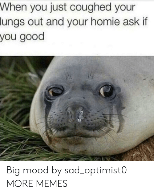 Big Mood: When you just coughed your  lungs out and your homie ask if  you good Big mood by sad_optimist0 MORE MEMES