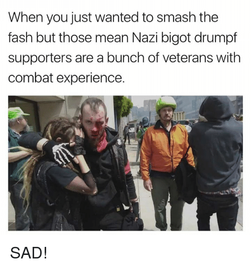 Memes, Smashing, and Mean: When you just wanted to smash the  fash but those mean Nazi bigot drumpf  supporters are a bunch of veterans with  combat experience. SAD!