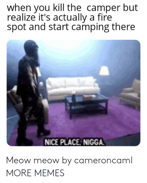 camping: when you kill the camper but  realize it's actually a fire  spot and start camping there  NICE PLACE NIGGA. Meow meow by cameroncaml MORE MEMES
