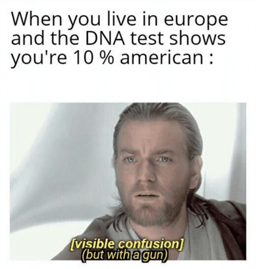 Visible: When you live in europe  and the DNA test shows  you're 10 % american  visible confusion]  (but with a gun)
