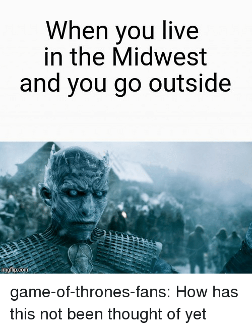 Midwest: When you live  in the Midwest  and you go outside  imgflp.com game-of-thrones-fans:  How has this not been thought of yet