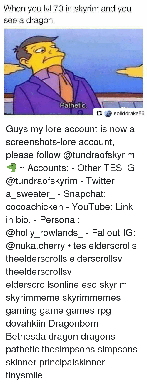 Patheticness: When you lvl 70 in skyrim and you  see a dragon.  Pathetic  soliddrake86 Guys my lore account is now a screenshots-lore account, please follow @tundraofskyrim 🐲 ~ Accounts: - Other TES IG: @tundraofskyrim - Twitter: a_sweater_ - Snapchat: cocoachicken - YouTube: Link in bio. - Personal: @holly_rowlands_ - Fallout IG: @nuka.cherry • tes elderscrolls theelderscrolls elderscrollsv theelderscrollsv elderscrollsonline eso skyrim skyrimmeme skyrimmemes gaming game games rpg dovahkiin Dragonborn Bethesda dragon dragons pathetic thesimpsons simpsons skinner principalskinner tinysmile