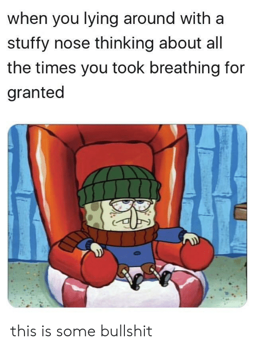 You Lying: when you lying around with a  stuffy nose thinking about al  the times you took breathing for  granted this is some bullshit