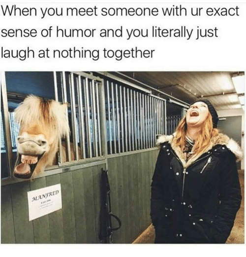 Memes, 🤖, and You: When you meet someone with ur exact  sense of humor and you literally just  laugh at nothing together  MANFRE