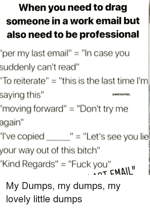 "Dumps: When you need to drag  someone in a work email but  also need to be professional  per my last email""""In case you  suddenly can't read""  To reiterate""""this is the last time I'm  saying this""  'moving forward"" ""Don't try me  again  I've copied  your way out of this bitch""  Kind Regards"" = ""Fuck you""  INSTASTEEL  ""-""Let's see you lie  T EMAIL My Dumps, my dumps, my lovely little dumps"