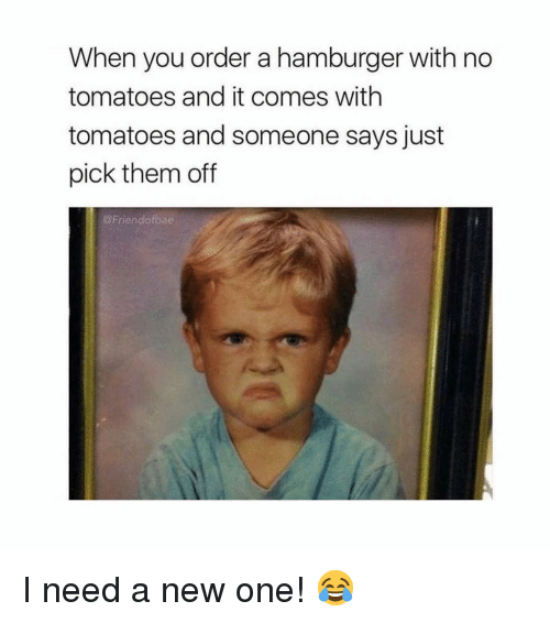 Memes, 🤖, and Hamburger: When you order a hamburger with no  tomatoes and it comes with  tomatoes and someone says just  pick them of  @Friendofbae I need a new one! 😂