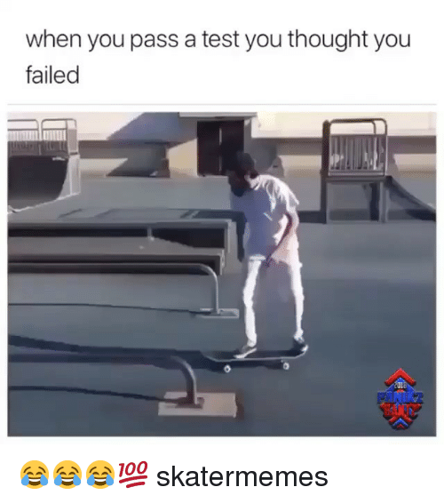 test-you: when you pass a test you thought you  failed  201 😂😂😂💯 skatermemes