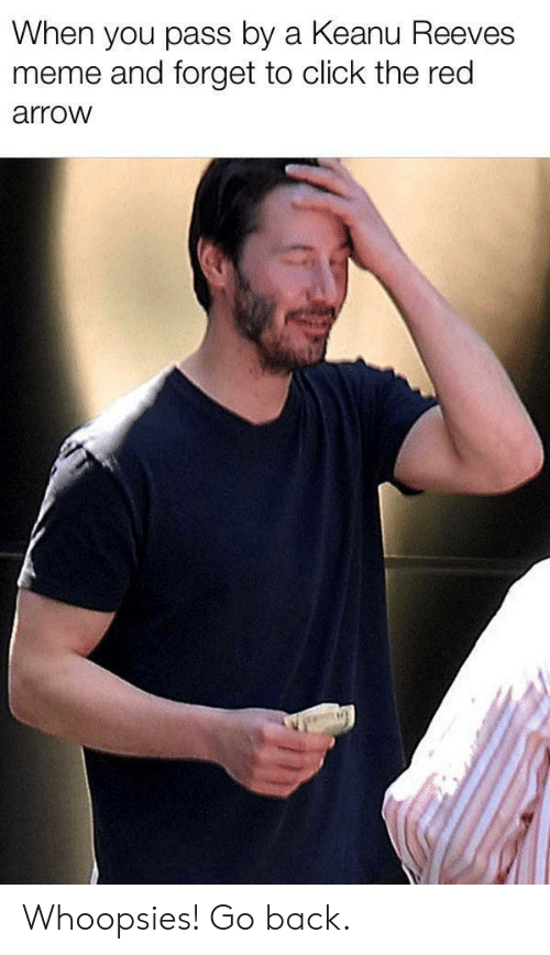 Arrow: When you pass by a Keanu Reeves  meme and forget to click the red  arrow Whoopsies! Go back.