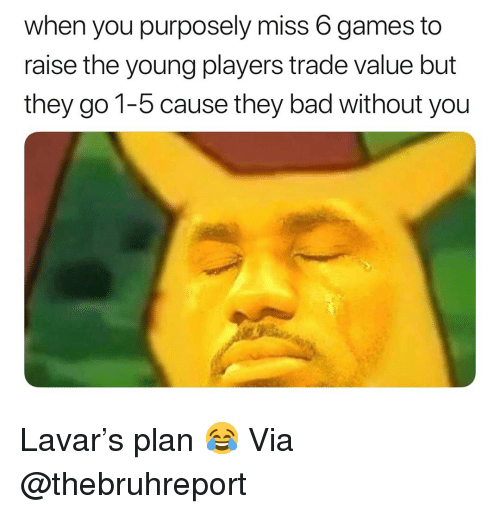 Lavar: when you purposely miss 6 games to  raise the young players trade value but  they go 1-5 cause they bad without you Lavar's plan 😂 Via @thebruhreport