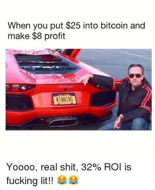 Fucking, Lit, and Memes: When you put $25 into bitcoin and  make $8 profit  INNING Yoooo, real shit, 32% ROI is fucking lit!! 😂😂