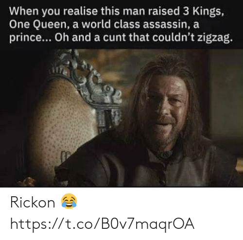 Prince, Queen, and Cunt: When you realise this man raised 3 Kings,  One Queen, a world class assassin, a  prince... Oh and a cunt that couldn't zigzag. Rickon 😂 https://t.co/B0v7maqrOA