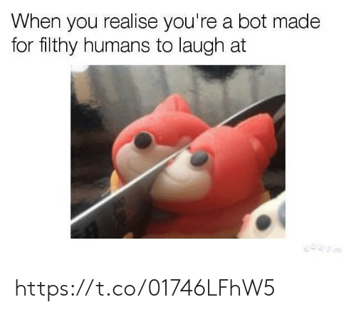 You, Made, and For: When you realise you're a bot made  for filthy humans to laugh at https://t.co/01746LFhW5