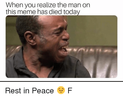 Meme, Memes, and Today: When you realize the man on  this meme has died today Rest in Peace 😔 F