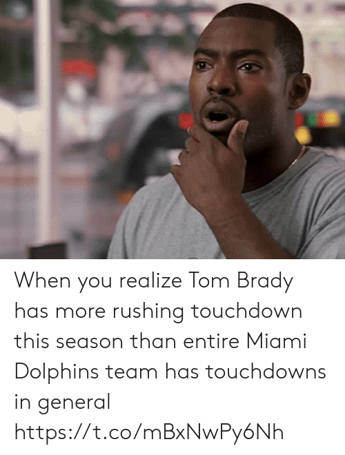 tom brady: When you realize Tom Brady has more rushing touchdown this season than entire Miami Dolphins team has touchdowns in general https://t.co/mBxNwPy6Nh