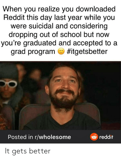 program: When you realize you downloaded  Reddit this day last year while you  were suicidal and considering  dropping out of school but now  you're graduated and accepted to a  grad program O #itgetsbetter  e reddit  Posted in r/wholesome It gets better