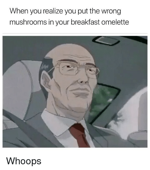 omelette: When you realize you put the wrong  mushrooms in your breakfast omelette Whoops