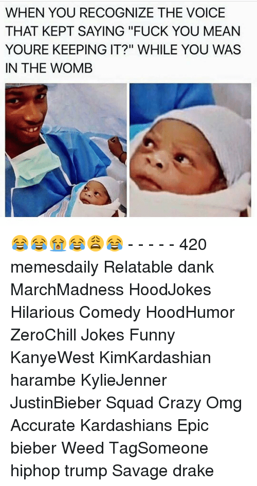 "Fuck You Meaning: WHEN YOU RECOGNIZE THE VOICE  THAT KEPT SAYING ""FUCK YOU MEAN  YOURE KEEPING IT?"" WHILE YOU WAS  IN THE WOMB 😂😂😭😂😩😂 - - - - - 420 memesdaily Relatable dank MarchMadness HoodJokes Hilarious Comedy HoodHumor ZeroChill Jokes Funny KanyeWest KimKardashian harambe KylieJenner JustinBieber Squad Crazy Omg Accurate Kardashians Epic bieber Weed TagSomeone hiphop trump Savage drake"