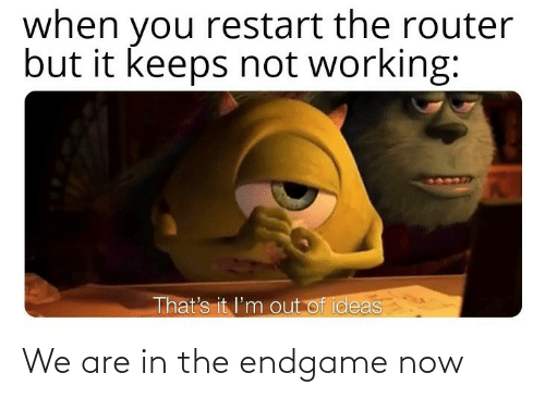 But It: when you restart the router  but it keeps not working:  That's it l'm out of ideas We are in the endgame now