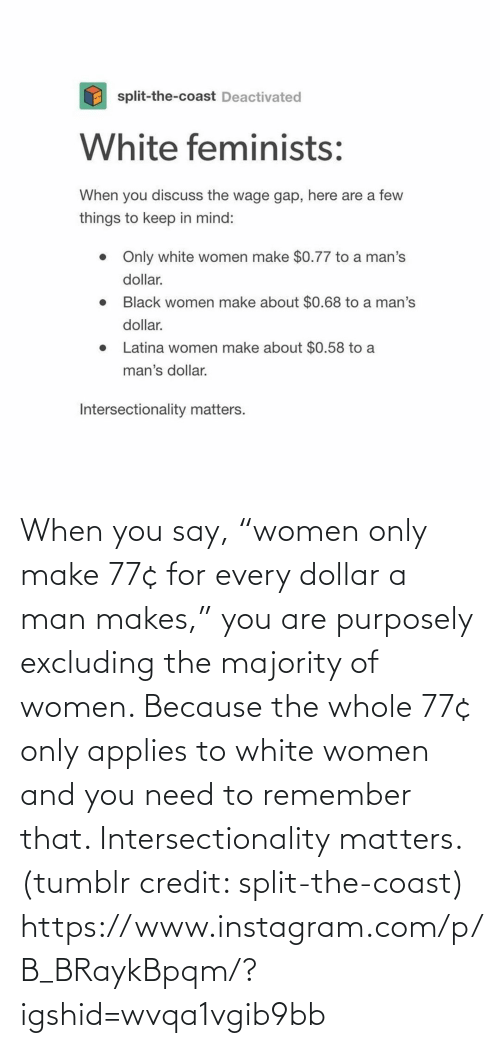 "Instagram, Target, and Tumblr: When you say, ""women only make 77¢ for every dollar a man makes,"" you are purposely excluding the majority of women. Because the whole 77¢ only applies to white women and you need to remember that. Intersectionality matters. (tumblr credit: split-the-coast) https://www.instagram.com/p/B_BRaykBpqm/?igshid=wvqa1vgib9bb"
