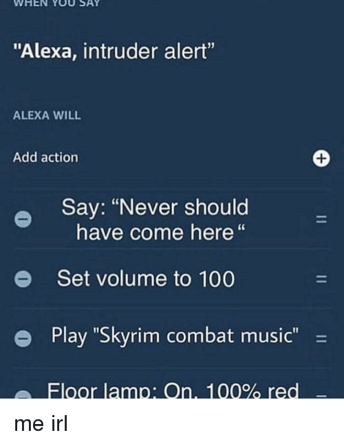 "Anaconda, Music, and Skyrim: WHEN YOU SAY  ""Alexa, intruder alert""  ALEXA WILL  Add action  Say: ""Never should  have come here""  e  Set volume to 100  e Play ""Skyrim combat music-  Floor lamp: On, 100% red me irl"