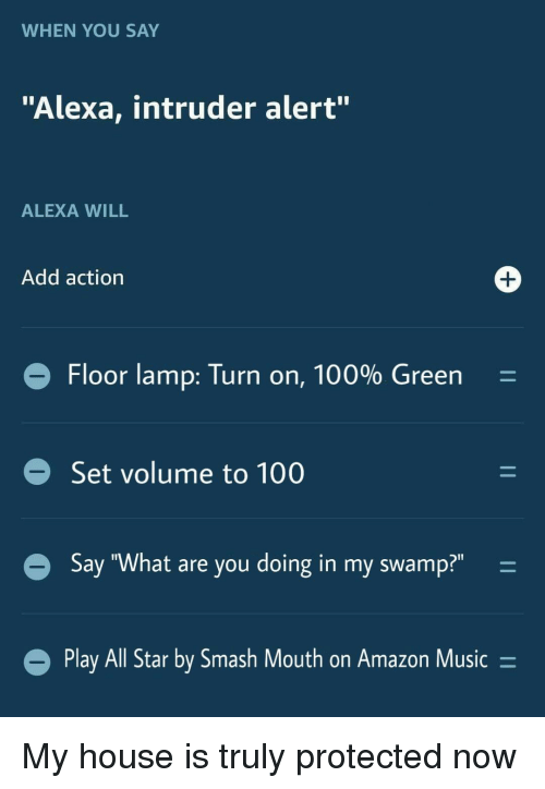 """All Star, Amazon, and Anaconda: WHEN YOU SAY  """"Alexa, intruder alert""""  ALEXA WILL  Add action  Floor lamp: Turn on, 100% Green  Set volume to 100  Say """"What are you doing in my swamp?""""-  Play All Star by Smash Mout  h on Amazon Music- My house is truly protected now"""