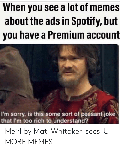 Dank, Memes, and Sorry: When you see a lot of memes  about the ads in Spotify, but  you have a Premium account  I'm sorry, is this some sort of peasant joke  that I'm too rich to understand? Meirl by Mat_Whitaker_sees_U MORE MEMES