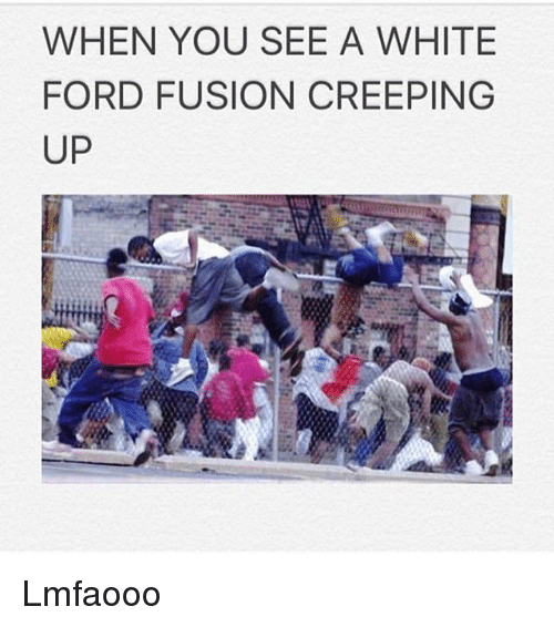 Fusionator: WHEN YOU SEE A WHITE  FORD FUSION CREEPING  UP Lmfaooo