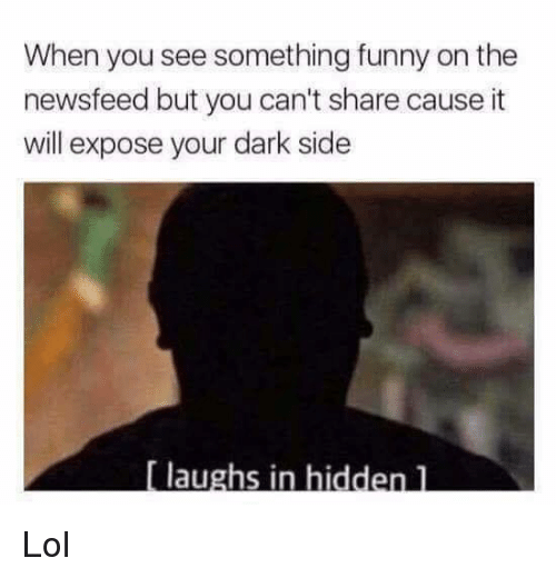 Funny, Lol, and Memes: When you see something funny on the  newsfeed but you can't share cause it  will expose your dark side  laughs in hidden l Lol